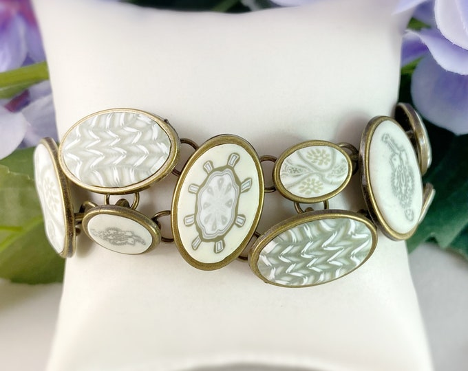 Handmade Polymer Clay Oval Bead Bracelet
