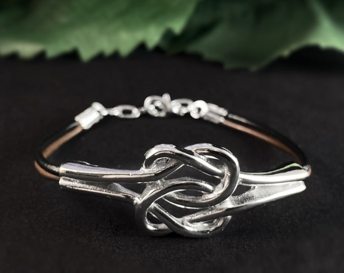 Silver Bracelet with Leather Cord, Handmade Nickel Free