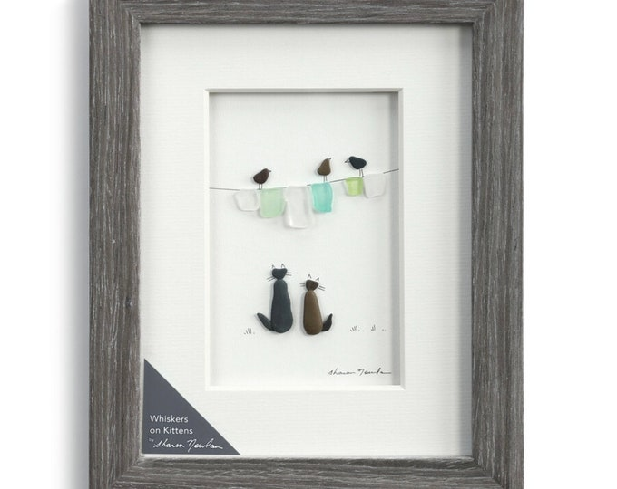 Featured listing image: Whiskers on Kittens, Sharon Nowlan Pebble Art
