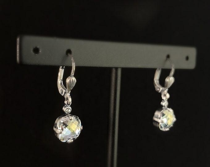 Cushion Cut Swarovski Crystal Drop Earrings, Gray - La Vie Parisienne by Catherine Popesco