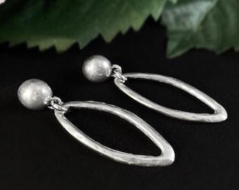Chunky Silver Oval Post Earrings - Handmade Nickel Free Ulla Jewelry