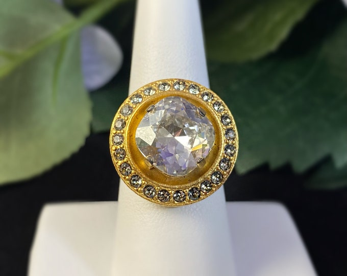 Large Gold Statement Ring with Swarovski Crystals - La Vie Parisienne by Catherine Popesco