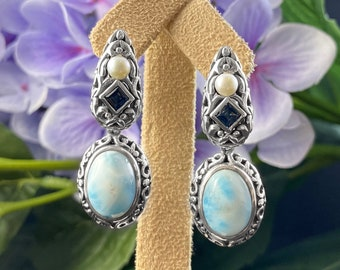 Marahlago Larimar and Sterling Silver Messina Earrings