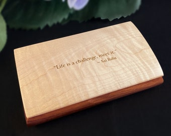 Life is a Challenge Quote Box from Mikutowski Woodworking Handmade Wooden Box with Curly Maple and Padauk