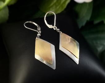 J and I Handmade Gold and Silver Diamond Shape Earrings