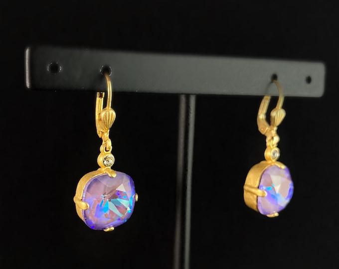 Cushion Cut Swarovski Crystal Drop Earrings, Purple - La Vie Parisienne by Catherine Popesco