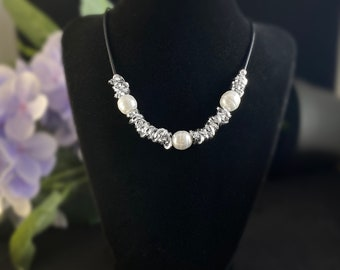 Handmade Silver Necklace with Freshwater Pearls - Nickel Free Ulla Jewelry