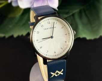Women's Watch, Navy Blue Leather Band, Black Case - TOKYObay