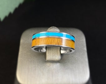 Men's Tungsten Ring with Wood and Turquoise