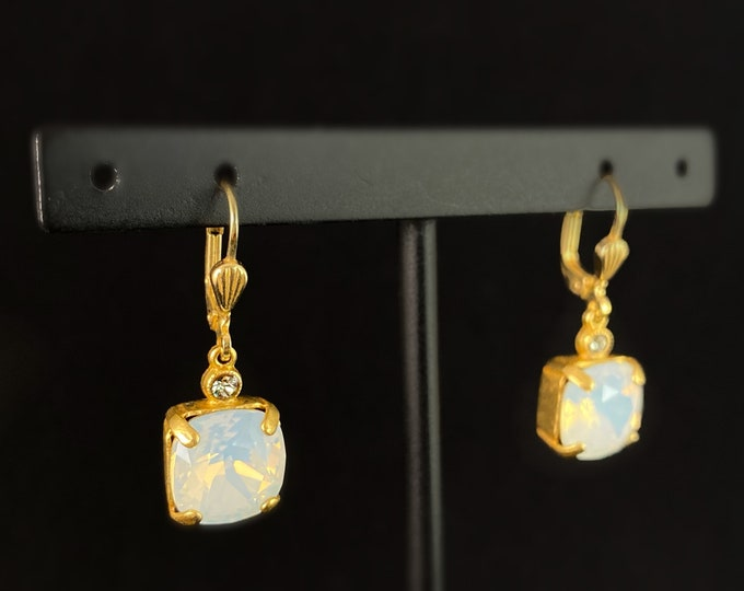 Milky Opal Square Cut Swarovski Crystal Drop Earrings - La Vie Parisienne by Catherine Popesco