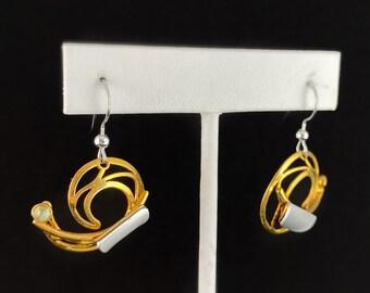 Lightweight Handmade Geometric Aluminum Earrings, Gold and Light Green
