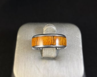 Men's Stainless Steel Ring with Wood