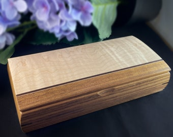 Large Handmade Wooden Treasure Box with Curly Maple, Shedua, and Wenge, Made in USA