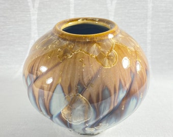 Small Wide Blue and Brown Handmade Vase - Handcrafted in the USA, Bill Campbell Pottery