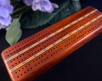 Handmade Wooden Cribbage Board with Cards and Pegs - Padauk