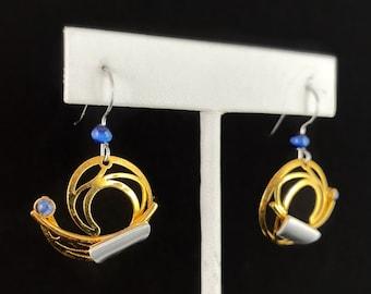 Lightweight Handmade Geometric Aluminum Earrings, Gold and Blue