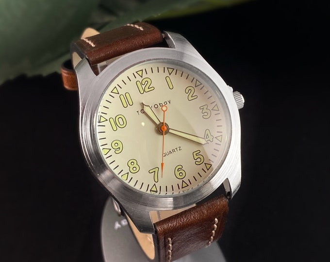 Men's Watch, Brown Leather Band, Silver Case - TOKYObay