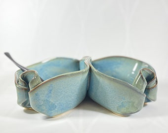 Handmade Light Blue Double Sided Bowl with Serving Spoon, Functional and Decorative Pottery