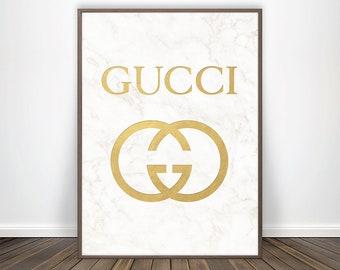 8560359332 Gucci Print Art Gucci Inspired Fashion Poster Gucci Logo Gucci Poster  Fashion Print White Marble Decor White and Gold Decor Luxury Wall Art