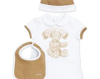 afc2614ec23 Brown Gucci Baby Onesie Set
