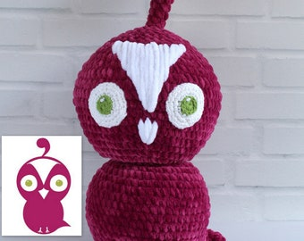 Quinn the Questioning Quail, Crocheted plush from drawing, Astute Hoot animal Custom plushie for your home or classroom, Custom puppet doll