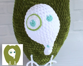 Vern the Visualizing Vulture, Crocheted plush from drawing, Astute Hoot animal Custom Leroy plushie for your home, classroom, Custom puppet