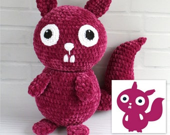Sharon the Summarizing Squirrel, Crocheted plush from drawing, Astute Hoot animal, Custom plushie for your home or classroom, Custom doll
