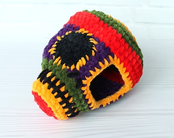 Leopard gecko hide, Halloween Skull reptile, Crocheted invertebrate hide, Velvet reptile tank decor, Soft small pet bedding, Small pets home