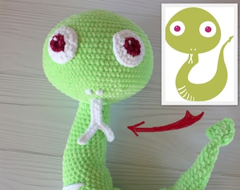 Toy made from drawing, Crochet custom order, Sally the Sounding-out Snake, Plush stuffed toy, Design doll from picture, photo, kids drawing