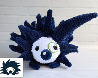 Paco the Pointing Porcupine, Crocheted plush from drawing, Astute Hoot animal, Custom plushie for your home or classroom, Custom puppet doll