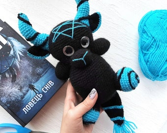 Crochet creepy devil doll, dark art, devil demon, spooky yarn doll, Horror statue, Horror Doll Gothic Home Decor, Kids gift monster toy baby