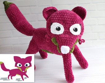 Fiona the Fact-Fluency Fox, Crocheted plush from drawing Astute Hoot animal Custom Fox plushie for your home, classroom, Custom puppet doll