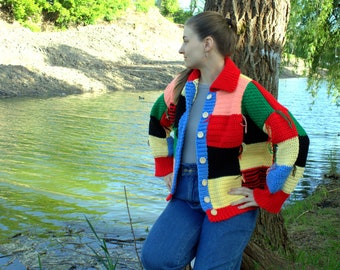 Harry styles cardigan, Crocheted hand knit sweater, Patchwork rainbow inspired By JW Anderson, Unisex embroidery Multi Color Men Women gift