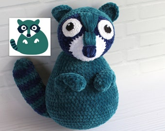 Reggie the Rhyming Raccoon, Crocheted plush from drawing, Astute Hoot animal Custom plushie for your home or classroom, Custom puppet doll