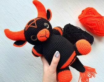 Crochet dark art, Creepy devil doll, Orange demon baby, spooky knit doll Horror statue, Horror Doll Gothic Home Decor, Kids gift monster toy