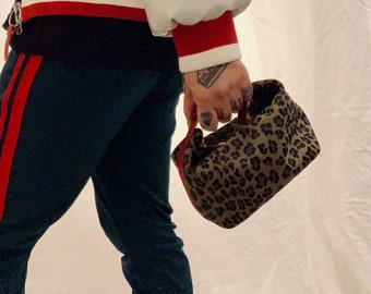 ONEOFAKIND Vintage Fendi leopard print mini pouch bag with red leather details and gold toned buckle very good condition