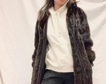 PERFECT COAT vintage 80s mahogany brown Saga Mink coat size 36/38/40 very good condition
