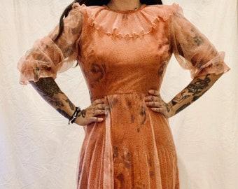 STUNNING vintage 70s burnt brown maxi prairie boho dress with Elizabeth collar size 34
