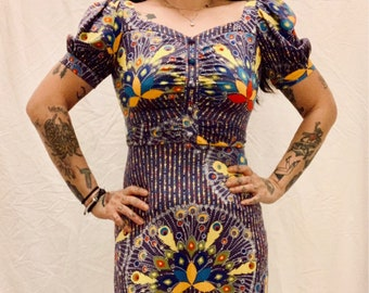 HIPPIE BOHO vintage 70s purple polyester maxi dress with colorful peacock patterns size 34/36