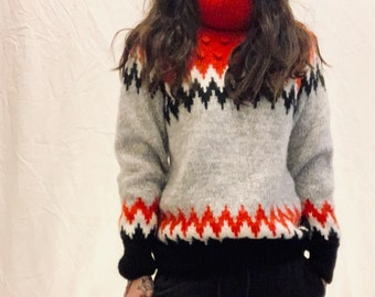 HANDKNITTED Norwegian multicolored oversized turtleneck jumper with pom pom details very good condition size S