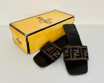 RARE FIND!! Vintage 90s Fendi Zucca canvas and leather sandals mules size 37