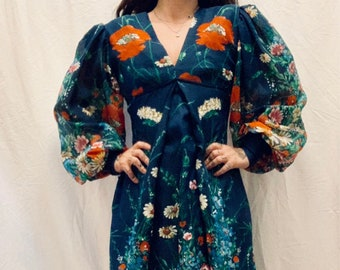 MATERNITY SUITABLE vintage 70s navy floral maxi dress with bell sleeves and empire waist size 36