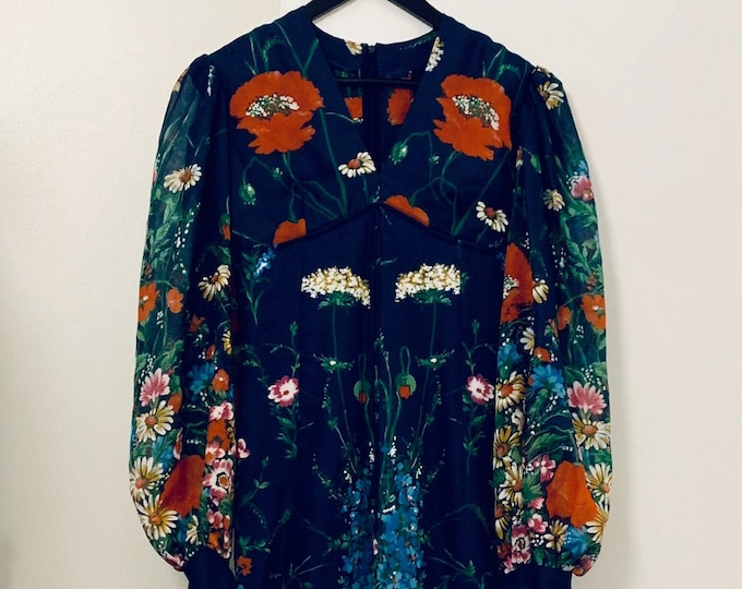 Featured listing image: MATERNITY SUITABLE vintage 70s navy floral maxi dress with bell sleeves and empire waist size 36