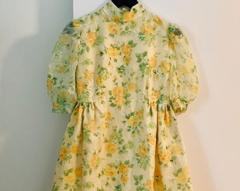SUPER CUTE retro 60s yellow roses chiffon mini dress size 34/36