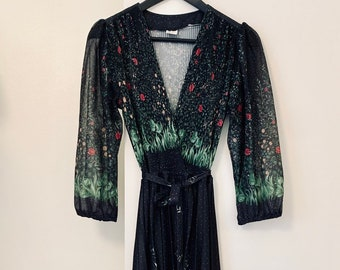 STUNNING vintage 80s black floral midi-dress with bell sleeves UK 10-12