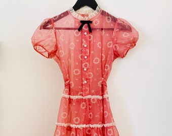 MIU MIU INSPIRED 90s vintage sheer midi dress in fuchsia with flower pattern and short puffy sleeves size 36
