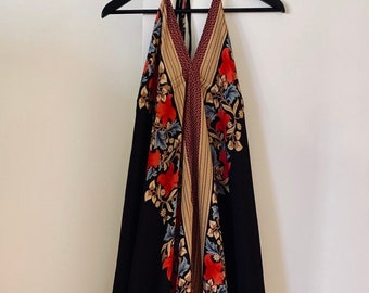 STUNNING hippie chic boho voluptuous silk halter maxi dress one size