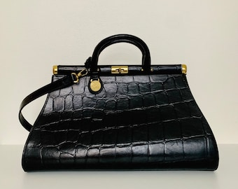 VERY RARE vintage retro Mulberry Gladstone black Congo leather handbag