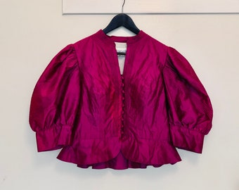 DRAMATIC vintage 80s fuschia pink silk blouse with large balloon half-sleeves size 46 (fits like 42)