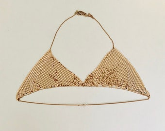 SEXY retro 70s style handmade gold metal mesh bralette 80cm A-C cup